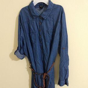 Justify denim button down tunic - size 1X